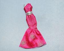 SLEEK! Hot Pink & Silver Glitter Long Dress Gown Genuine BARBIE Fashion Clothes