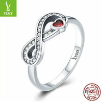 Women S925 Sterling Silver Infinite Heart Finger Ring Crystal Jewelry Size 6-8