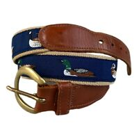 Preston Canvas Leather Golf Belt Mens 32 Mallard Ducks Blue Tan Brass Made USA