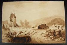 Lavis paysage de campagne signé S Vigneron daté 10 avril 1835 sur papier filigra