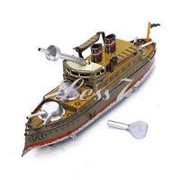 Vintage Wind Up Battle Ship Boat Battleship Tin Toy Collectible Clockwork Gift