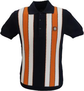 Trojan Records Navy/Orange/White Textured Stripe Polo Shirts