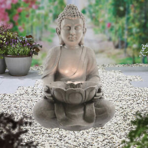 Garden Water Fountain Buddha LED Light Free Standing Outdoor Patio Furniture
