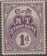 Stamp 1917 Northern Territory 1d purple stamp duty issue, mint no gum