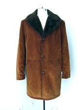 Vgc Vtg 70s Caramel Brown Corduroy Stadium Barn Rancher Coat Fur Lined 48 X-Tall