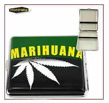 Marijuana Weed Leaf Design Cigarette Case Tobacco Metal Storage Roll Ups Box  UK