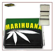 Marijuana Weed Leaf Design Cigarette Case Tobacco Metal Storage Roll Ups Box  UK