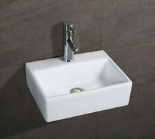 Bathroom Square Ceramic White Gloss Basins - Wall Hung Sinks - with Fixing