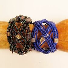 Set of 2 Wide Handmade Beaded Braided Shell Chip Cuff Bracelet FREE SHIPPING!!