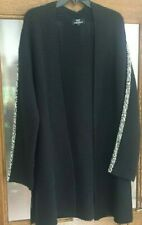 JUSTLEYS Magnifique manteau,long gilet, veste noir et blanc-taille L  Etat NEUF