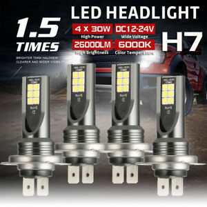 4Pcs H7 Combo LED Headlight Kit Bulbs High O Low Beam 120W 26000LM 6000K Kit