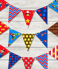 MARIO MADNESS BUNTING -  PLAY ROOM/BEDROOM/BIRTHDAY-18 x BRIGHT FLAGS!!
