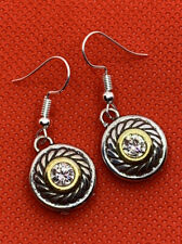 Brighton HEIRESS Circles Crystal Centers Gold & Silver Two-Toned Earrings