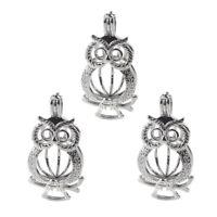 Owl Pearl Cage 5PC Silver Color Locket Pendant Fit DIY Essential Oil Diffuser