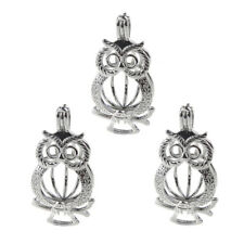 Owl Pearl Cage 5PC Silver Color Locket Pendant Fit DIY Essential Oil Diffuser