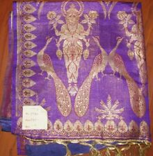 PURPLE & GOLDEN ZARI THREAD INDIAN SILK SAREE SARI FABRIC NEW WITH TAGS