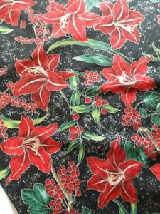 Hoffman Christmas Onyx/Silver Fabric – price by the Half Metre