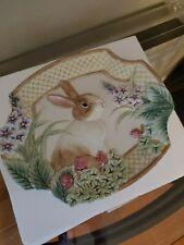 Fitz and Floyd Essentials Botanical Bunny Canape Rabbit Plate - Original Box