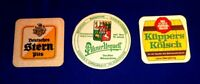 GERMAN + OTHER BEER COASTERS LOT OF 3 VINTAGE KUPPERS, KAMPMANN & DEUTSCHES