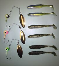 Jig spinner (3 pack) with #4 Gold Willow Blades with Moon Eye Jig Fishing Lures