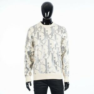 DIOR HOMME 2900$ Reflective Oblique Crewneck Sweater In White Virgin Wool Jersey