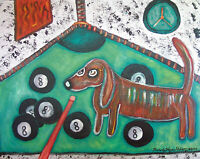 Dachshund 8-Ball Nightmare Art Print 8x10 Dog Collectible Signed by Artist Pool