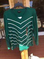 Worthington 2X Green Cream V Neck Sweater Lightweight Long Sleeve Cotton NWT
