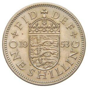 ENGLAND GB UK - 1953 Shilling - Elizabeth II - Nice Sharp Details and Luster!