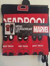 MARVEL DEADPOOL PAJAMA Set T-shirt & LOUNGE PANTS MEN'S SIZE Medium Black & Red