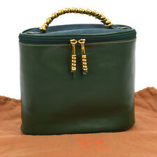Authentic LOEWE Hand Bag Pouch Purse Green Blue Leather Nubuck Vintage G03186