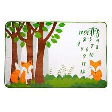 Baby Monthly Milestone Blanket | Premium Fleece Woodland Fox | Boy/Girl Large