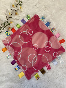 Taggies Taggie Girl Pink Security Blanket  Circles Dots Lovey Satin 11.75x11.25
