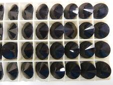 12 Swarovski rivoli stones,16mm jet black / unfoiled #1122