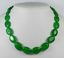 13x18mm Green Emerald Gemstones Oval Beads Necklace 18""