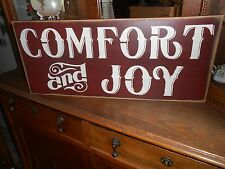 COMFORT AND JOY   Christmas wood sign primitive
