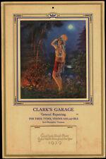 Rare Harem Girl Automotive Petrol Advertising Pin-up Calendar 1939 Tambourine NR