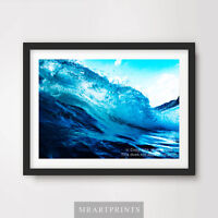 BLUE WAVE SEA OCEAN Art Print Poster Relaxing Pictures A4 A3 A2 Bathroom Water