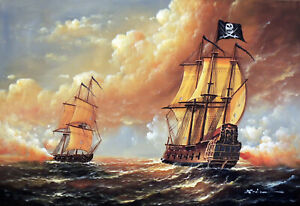 Pirate Ship Caribbean Sea 1800's Cannon Battle 24X36 Oil Painting STRETCHED