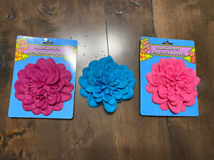 Lot of 3 Large FLOWER HAIR ELASTIC Pony Tail O Holders NEW Pink Purple euc Blue