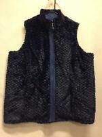 Denim & Co Reversible Zip Front Textured Faux Fur & Quilted Vest Blue Womens 2X