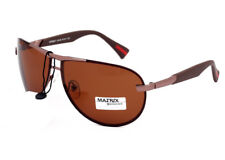 Matrix Men Women Polarised Brown Sunglasses for Driving Anti Glare Metal Frame