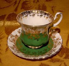 ROYAL ALBERT REGAL SERIES DEMITASSE CUP & SAUCER in GREEN GOLD TRIMMED RARE