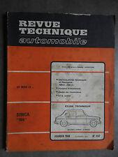 REVUE TECHNIQUE AUTOMOBILE RTA Février 1968 SIMCA 1100