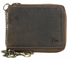 Metal zip-around genuine leather wallet with metal chain