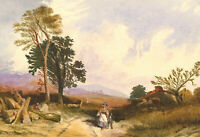 Edward Le Marchant - 1885 Watercolour, Figures in a Landscape