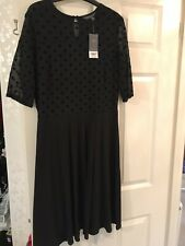 Dorothy Perkins Black Dress With Sheer Sleeves Size 14 BNWT From The TALL Range
