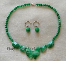Jade Set-grün Jade Halskette & Ohrringe Set