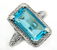10CT Aquamarine 925 Solid Sterling Silver Nouveau Style Ring Jewelry Sz 7, PR39