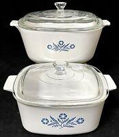 Vintage Corning Ware Blue Cornflower 1.5. & 2.5 Quart Baking Dishes W/Glass Lids
