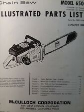 Mcculloch 650 Chain Saw Parts Manual Chainsaw Gasoline Engine 2 Cycle 1966